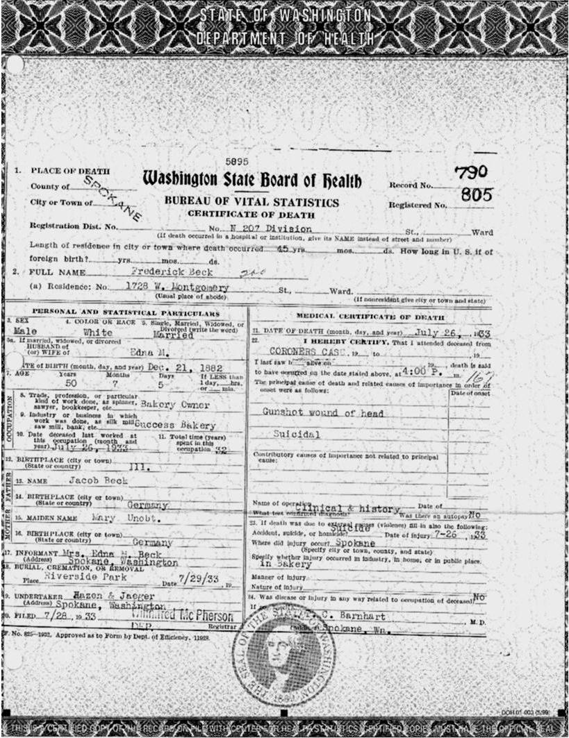 death records of spokane washington