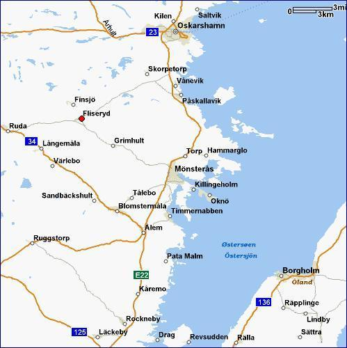 Geographical Information Fliseryd Parish Monsteras Community - Sweden map län